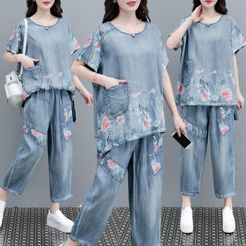 2020 summer women's fashion floral printing denim tops+ printed jeans suits female loose retro denim two-piece sets