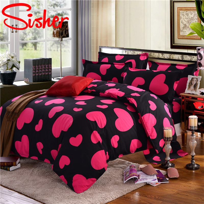Simple Heart Duvet Cover Sets King Size Bedding Set Floral Star Quilt Cover No Bed Sheet Single Double Queen Nordic Bed Linens