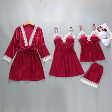 4 Pieces/Set Women Sexy Lace Robe Set Spring Summer Camisole Sleepwear Silk-like Cozy Nightgown Home Clothes Casual Nightdress