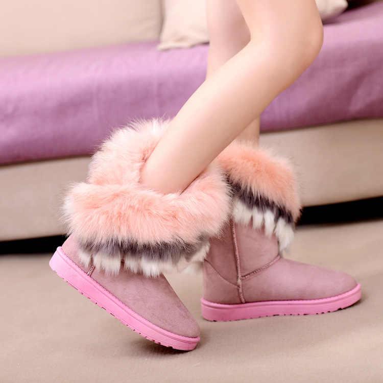 Botas de piel de invierno botas de tobillo calientes para mujeres zapatos de nieve 2019 nuevo estilo de punta redonda botas de nieve zapatos de mujer
