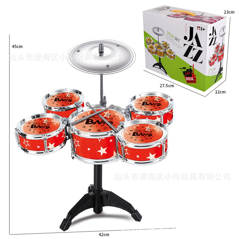 Wholesale CHILDREN'S Jazz Drum Kit Jazz Drum Baby Music Drum Music Hand Drum Early Childhood Educational Baby Toy Hot Selling