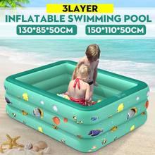 120/130/150/180/210 cm Rectangular Inflatable Swimming Pool Kids Paddling Pool Green PVC Bathing Tub Outdoor Summer