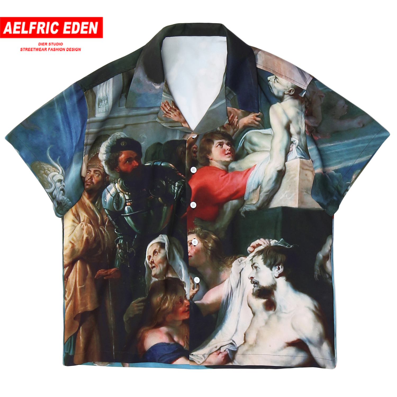 Aelfric Eden Angel Painting Shirt Men Oversized Graffiti Harajuku Short Sleeve Tees 2020 Hip Hop Streetwear Beach Shirt Male Top