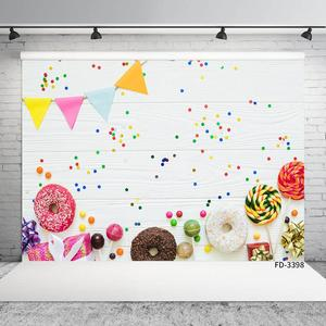 Image 3 - Beignets colorés bonbons fanion blanc planche de bois Photo fond vinyle décors pour enfants bébé douche photographie Photocall