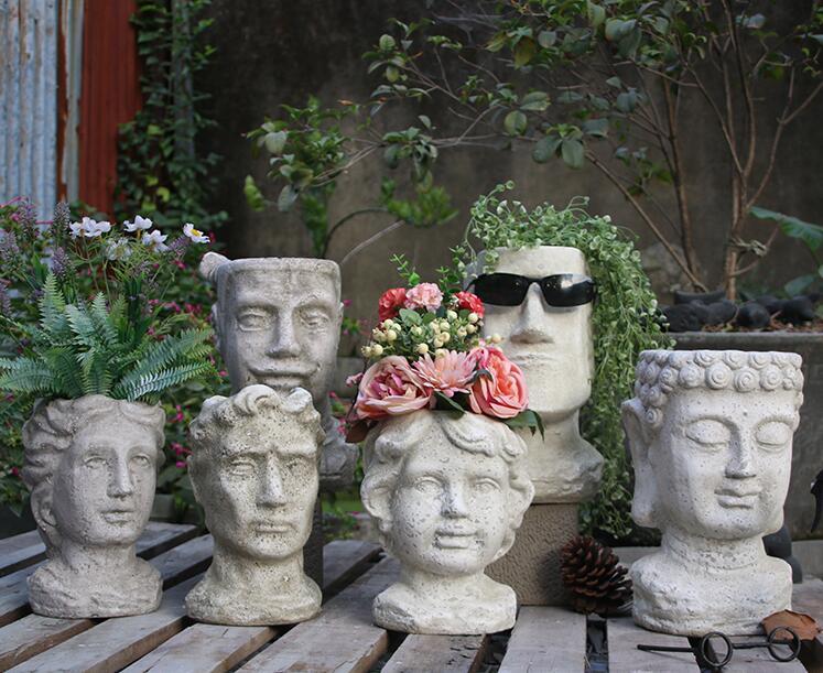 cement Flower Pot Planters Man Head Vintage Vase Statue Decoartion Courtyard Furnishing - 2