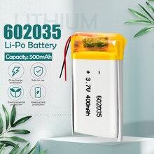Batterie Rechargeable 3.7 Lithium-ion polymère, 500 V, 602035 mAh, pour tachygraphe DVR et écouteurs bluetooth automobile, 602035