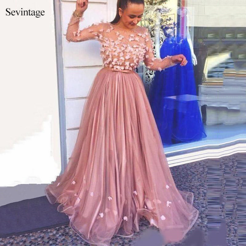 Sevintage Gorgeous 3D Flowers Sheer Long Sleeves Prom Dresses Sash A Line Tulle Satin Bride Party Evening Gowns robe de soiree