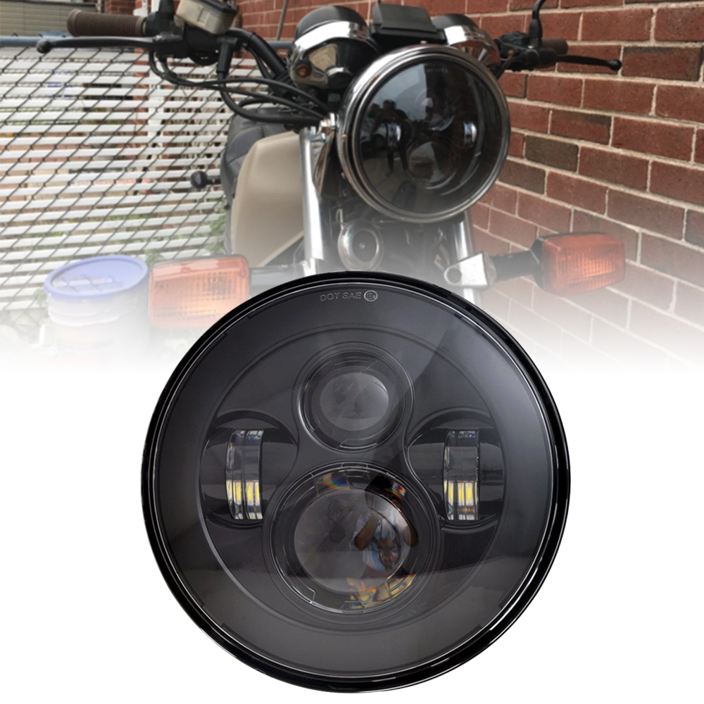 7Inch Motorcycle LED Headlight Black For Kawasaki Vulcan VN 500 750 800 900 1600 1700 1500 For 93-08 Ducati Monster 1000 600