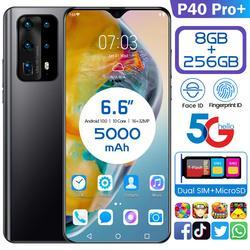 P40 Pro + Smartphone Android 6.6 5MP arrière caméras 8GB RAM 128GB ROM 5000mAh Octa core CPU huawe i téléphone portable P40