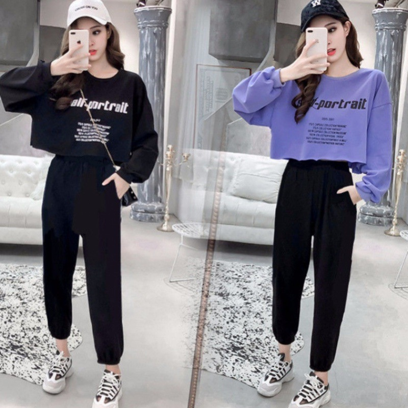 Autumn Set Student Korean-style Loose Fashion New Style 2019 Slimming Long Sleeve Casual Capri Pants Two-Piece Women's