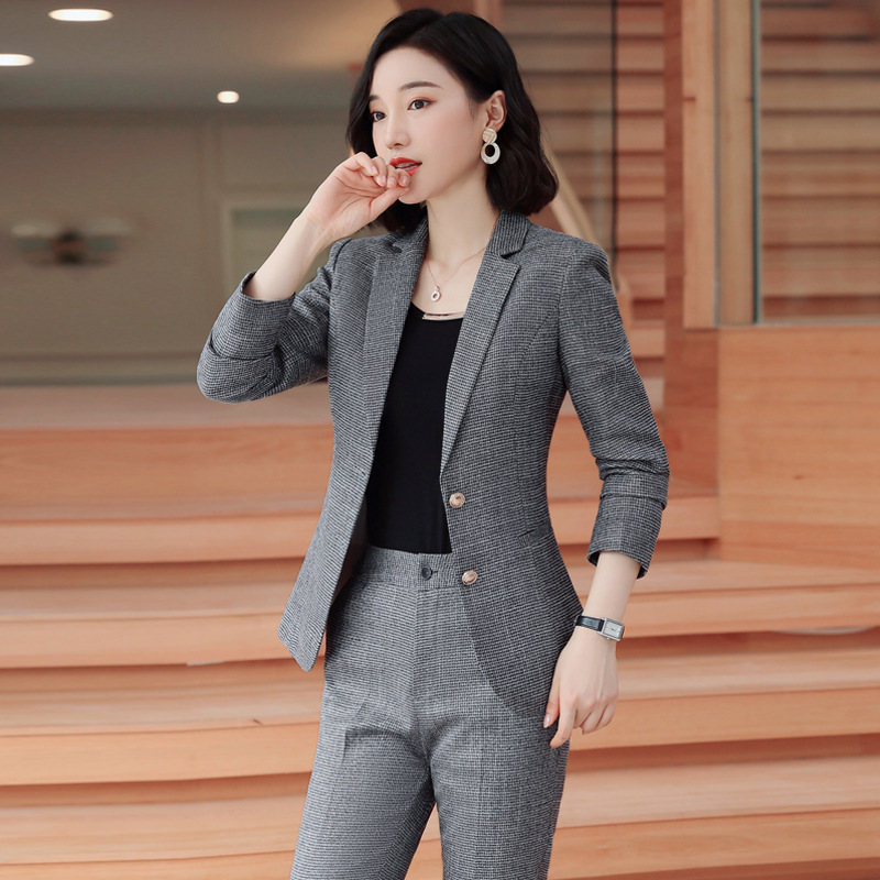 Gray Pink plaid Female elegant Women's Pants trouser Suits dress jacket costumes office wear clothing 2 piece set top and pants