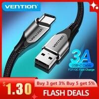 Vention – câble USB type-c 3A pour recharge rapide et transfert de données, cordon de chargeur usb-c pour téléphone Huawei P40 et Xiaomi Redmi note 8