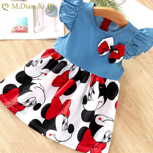 Girl Dress 1-7Y Children's Clothing Summer New Cotton Beach Minnie Cowboy Stitching Cartoon Pattern Girl Dress
