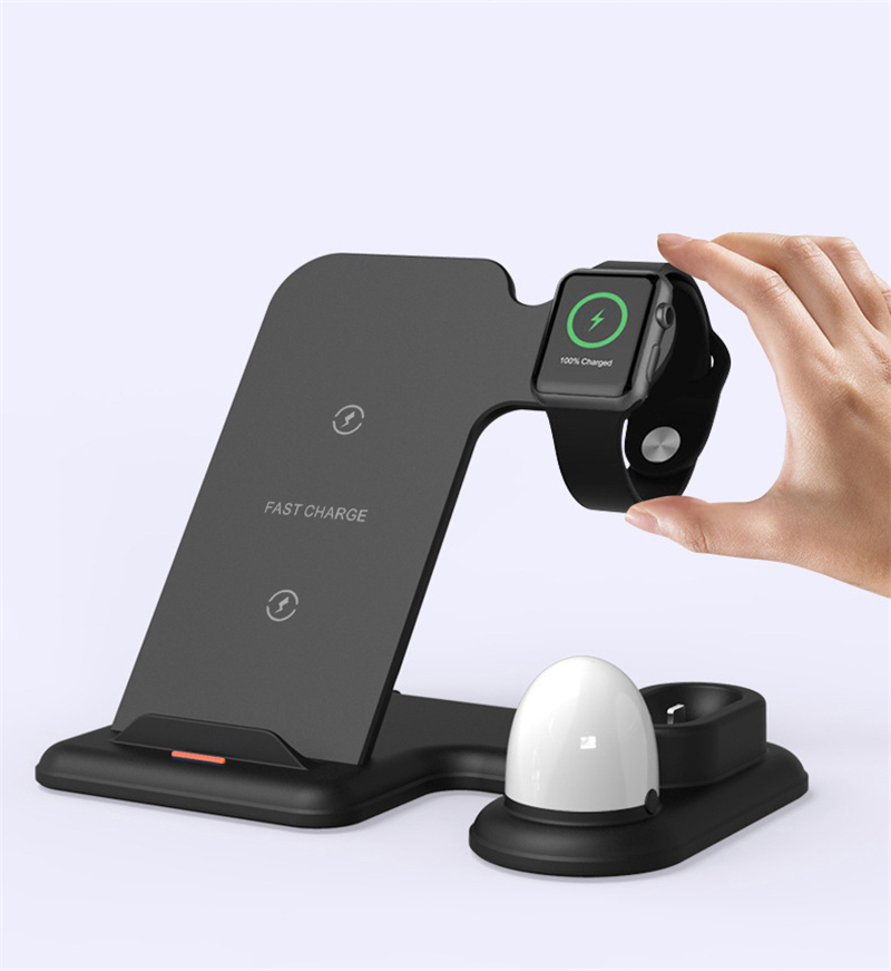4 in 1 Qi Wireless Charger Stand with LED Light For iPhone 11 pro Max XS Charging Dock Station For Apple Watch 5 4 3 2 1 Airpods