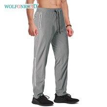 Wolfonroad faixa reflexiva dos homens de secagem rápida leve calças casuais joggers sweatpants gym workout calças caminhadas homem