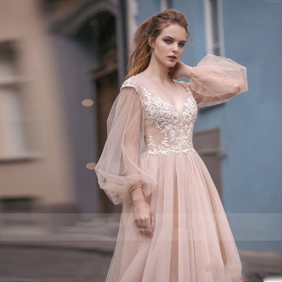 Tulle Long Sleeves A-Line Wedding Dresses Appliques Lace Sexy Open Back Bridal Gowns 2020 Modest Custom Online Robe De Mariee