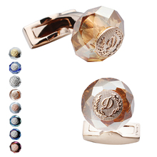 HAWSON Luxury Letter D Cufflinks 6 Colors Options Stone CuffLinks Rose Gold Color Mens Jewelry For Ceremony