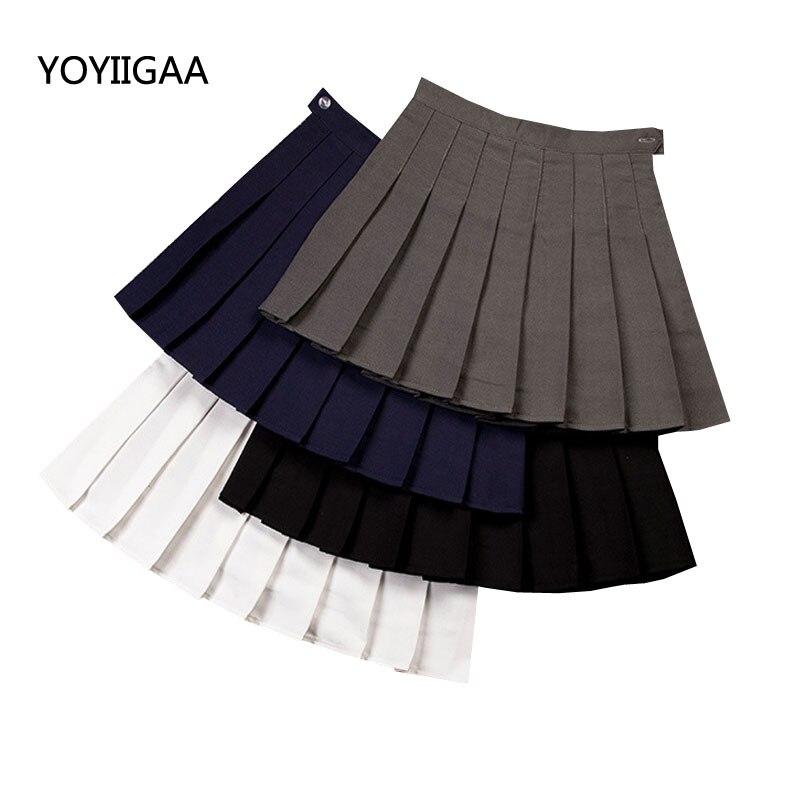 High Waist Pleated Skirts Womens Slim A Line Skirt Fashion Mini Summer Skirts Casual Girls Ladies Skirt Uniforms Preppy Style