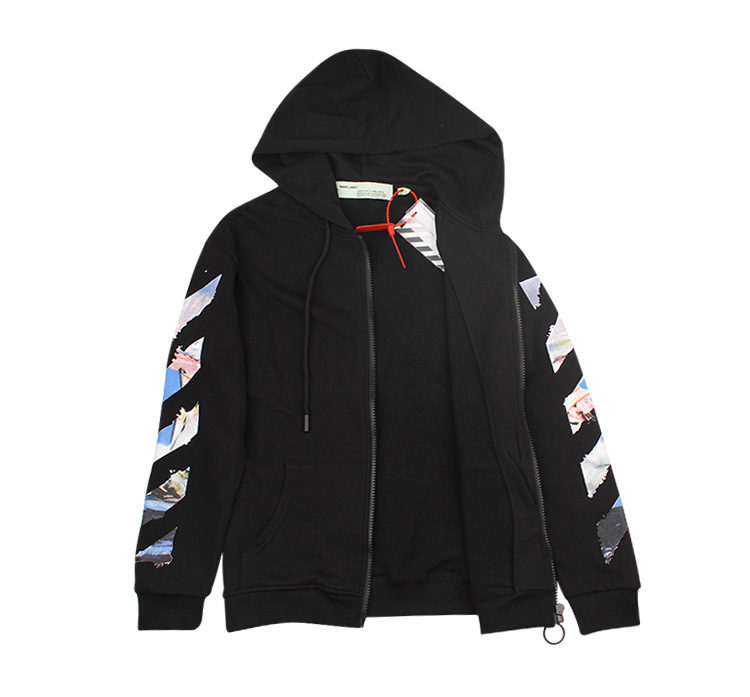 High Quality Off Ow White Series Early Autumn Oil Painting Printed Zipper Hoodie Coat Hair