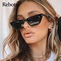 Vintage Schwarz Rechteck Shades Sonnenbrille Für Frauen Mode 2020 Neue Mode Kleinen Platz Sonnenbrille Frau Luxus Marke UV400