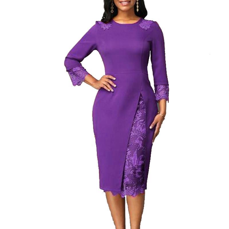 Superbe robe grande taille avec dentelles jusqu'au 5XL violette