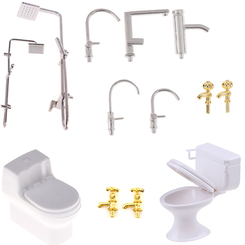 1/12 Dollhouse Miniature Bath Shower Modeling Toilet Bathtub Faucet Simulation Water Tap Toys for Doll House Furniture Toys