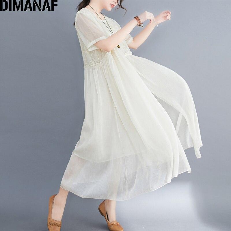Best DealüDIMANAF Female Clothing Maxi-Dress Silk Vestidos Loose Floral Plus-Size Elegant Lady