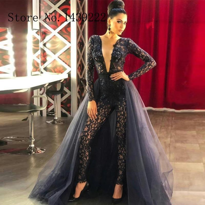Sofuge Black Pant Evening Suit Stretchable Lace Appliques Detachable Train Vestidos De Fiesta De Noche Robe De Soiree Plus