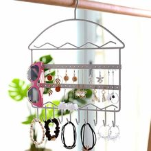 Girls Earrings Necklace Metal Jewelry Rack Earring Stand Display Holder Jewlry Organizer Vintage Wall Mount Hang Holde organizer(China)