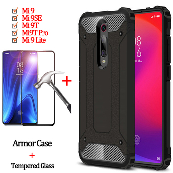 2-in-1 Bumper Case + Armor Glass for Mi 9 Lite Xiaomi Mi 9T Pro Shockproof Case Mi9T Xiaomi 9 T Pro Cover Mi9SE Xiomi Mi 9Lite