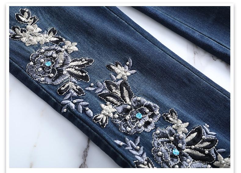 KSTUN FERZIGE Jeans Women High Waist Stretch Dark Blue Flared Pants Embroidery Hand Beads Bell Top Quality Mujer Jeans Plus Size 36 20