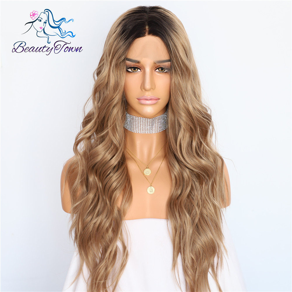 BeautyTown Silk Dark Roots Ombre Brown Natural Wave Women Queen Daily Makeup Wedding Party Present Synthetic Lace Front Wigs