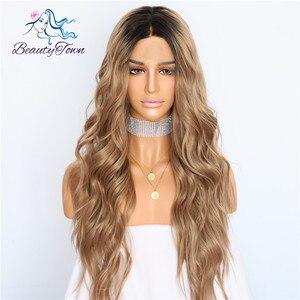 Image 2 - BeautyTown perruque en soie avec racines foncées ombré marron naturel ondulé, maquillage quotidien de reine, perruque synthétique présente pour femmes, mariage