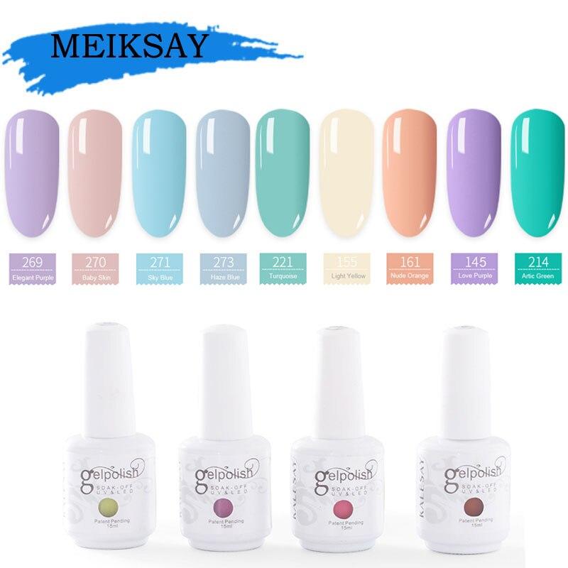 MEIKSAY Hot Color Led 15ML Nail Gel Polish Long Lasting UV Gel Nail Varnish Dry With Led Lamp Nail Polish Gelpolish Art