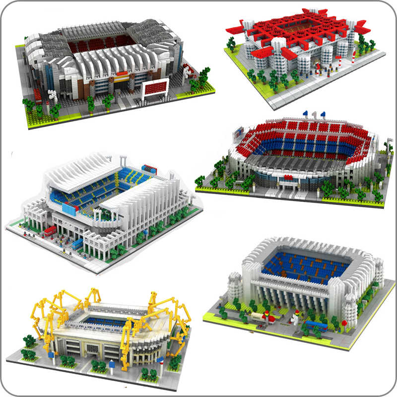 Calcio Old Trafford Camp Nou Bernabeu San Sir Stadio Real Madrid Barcellona Club FAI DA TE Diamante di Costruzione di Piccoli Blocchi Giocattolo no box