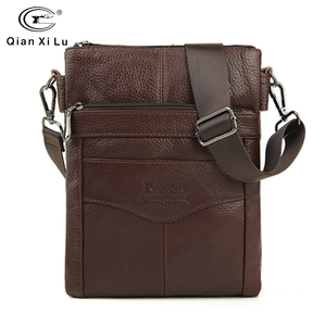 Image 1 - Durable Frosted Leather Men Messenger Bags Vintage Famous Brand Business Casual Man Bag Small Simple Leather Bag