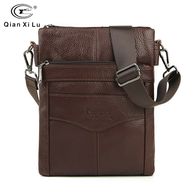 Durable Frosted Leather Men Messenger Bags Vintage Famous Brand Business Casual Man Bag Small Simple Leather Bag