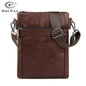 Image 1 - Duurzaam Frosted Lederen Mannen Messenger Bags Vintage Beroemde Merk Business Casual Man Zak Kleine Eenvoudige Leren Tas