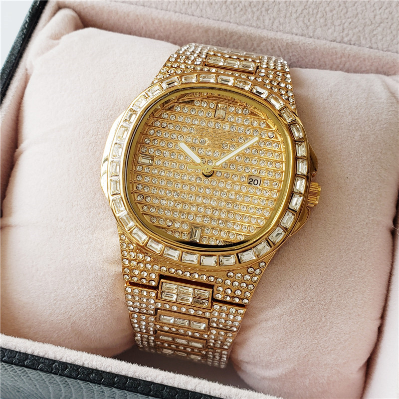 GUCY Hip Hop Iced Out Gold Color Watch Quartz Luxury Full Diamond Round Watches Mens Stainless Steel Wristwatch Gift