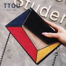 Suede Patchwork PU Leather Women Messenger Bag Ladies Flap Crossbody Chain Strap