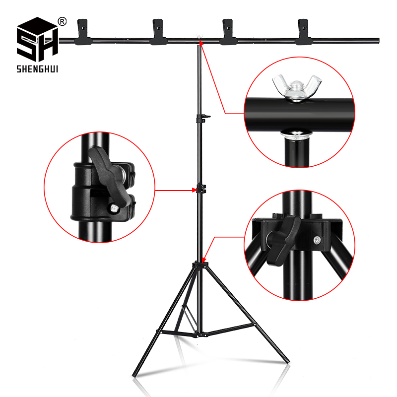 Photography T-shape Background Backdrop Stand Frame Support System For Photo Studio Video Chroma Key Green Screen With Stand(China)