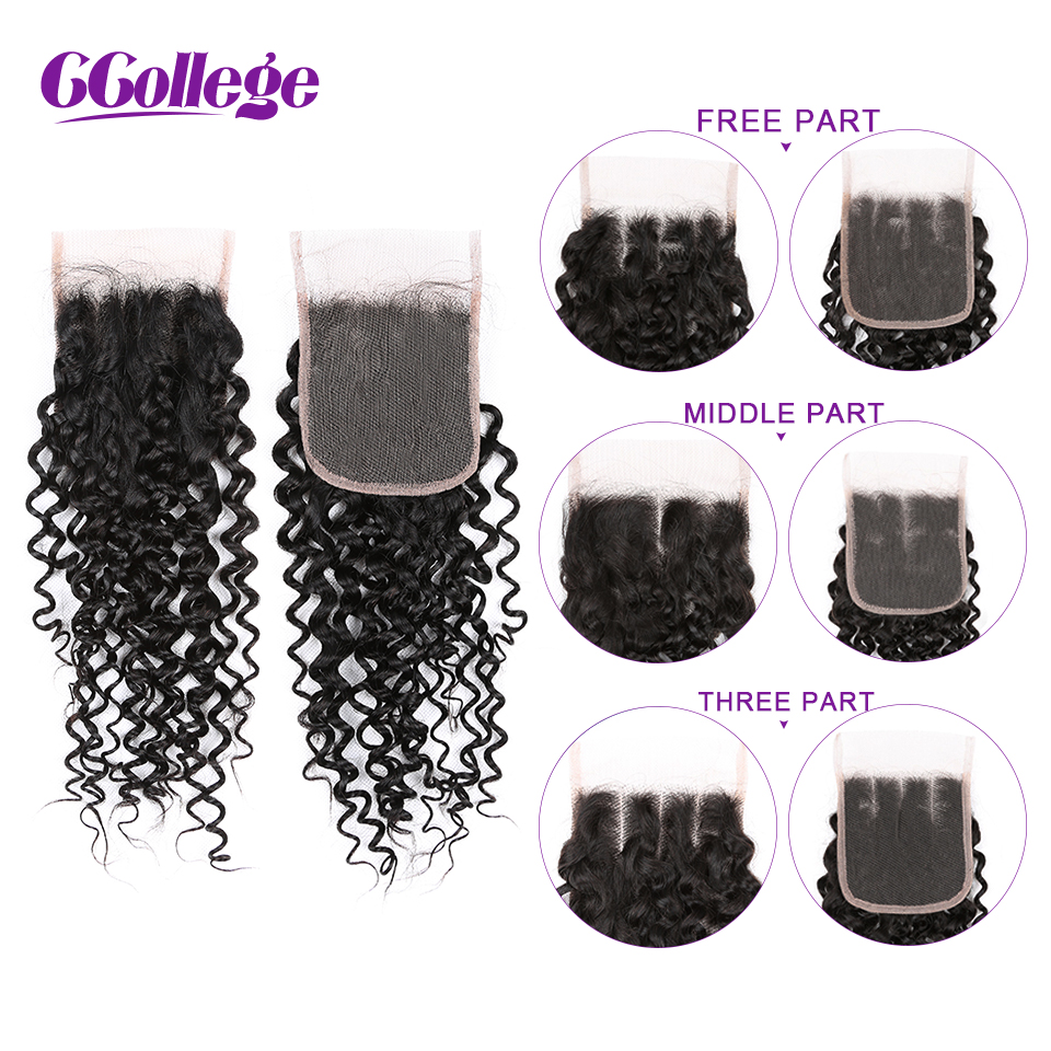 CCOLLEGE Kinky Curly Human Hair Bundles With Closure 3 Pieces Brazilian Hair Weave Non Remy Hair Extension 4 4 Lace Closure in 3 4 Bundles with Closure from Hair Extensions Wigs