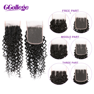 Image 5 - CCOLLEGE Kinky Curly Human Hair Bundles With Closure 3 Pieces Brazilian Hair Weave Non Remy Hair Extension 4*4 Lace Closure