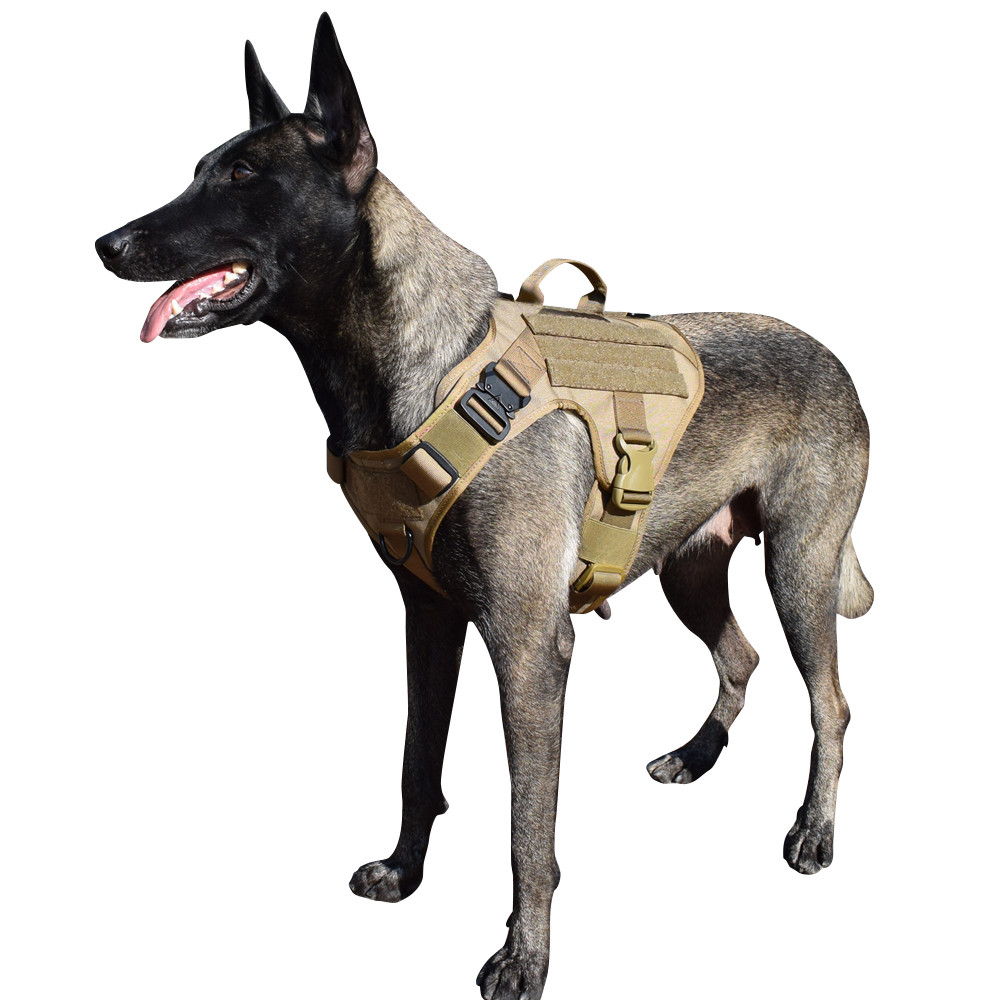 MXSLEUT Tactical Dog Vest Handle In Middle K9 Harness Adjustable Size For Military Dog Training Hunting Molle Dog Vest Harness