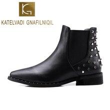 KATELVADI New Arrival Fashion Women Ankle Boots Autumn Winter Short Plush Inside War Classic Snow With Rivets Back K-542