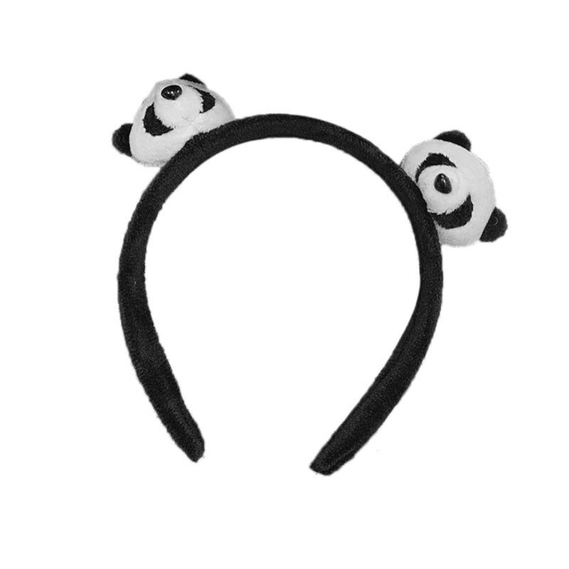 Hot Hot Sale Panda Headband Headwear Hair Clip Cute Pins Brooch Headdress Lovely Girls Stuffed Animal Soft Plush Decoration