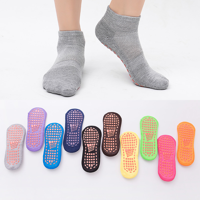 1 Pair Adult Polyester Cotton Anti Skid Socks Trampoline Socks Adult Comfortable Wear  PVC Rubber Points Non Slip Sports Socks