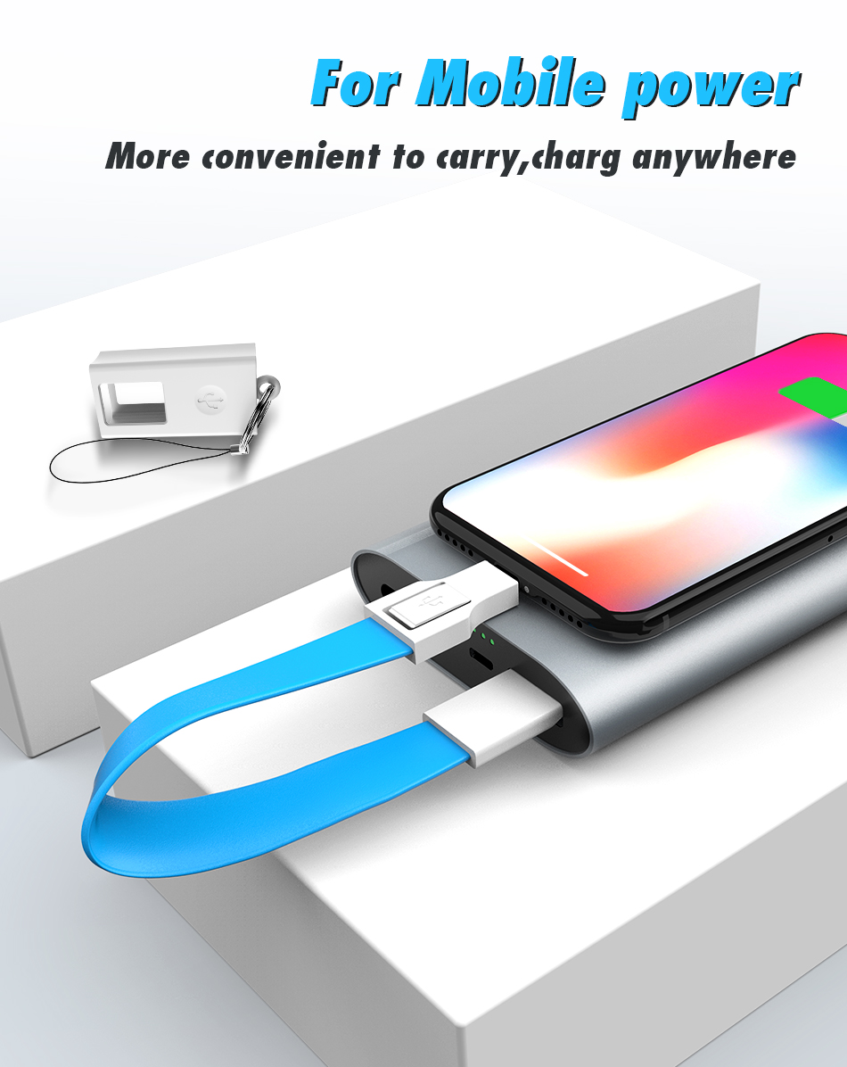 !ACCEZZ For iphone Cable Fast Charging For iphone XR XS MAX X 8 7 6 5 Plus Ipad mini Short USB Cable Keychain Data Sync TPE Cord (5)