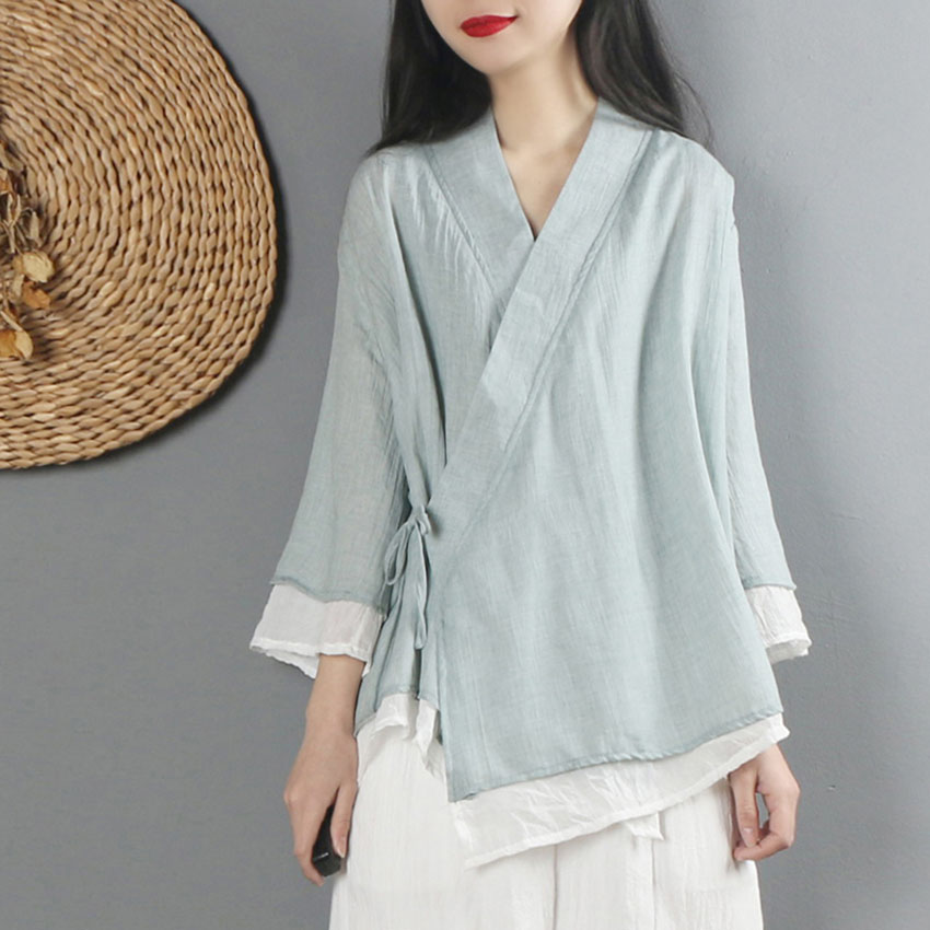 Women Linen Shirt Tops Chinese Style Vintage Retro Shirt Cardigan Coat Fairy Tai Chi Uniform Tang Suit Breathable Casual Hanfu
