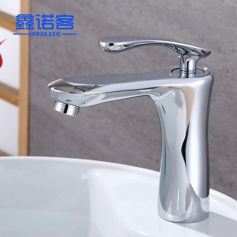 Copper Bathroom Lift Qi Type Lavatory Faucet Built-in Valve Element Single Handle Wash Basin Faucet Basin Single Bore